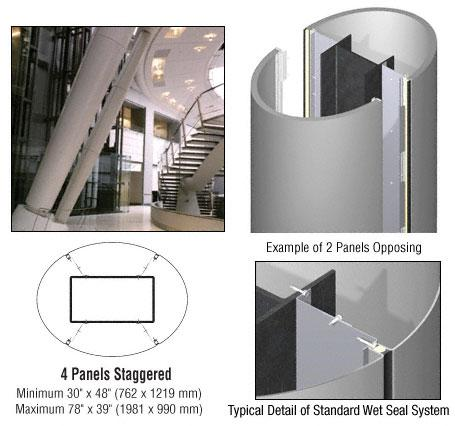 CRL Custom Non-Directional Stainless Standard Series Elliptical Column Covers Four Panels Staggered - ECE45CNDS