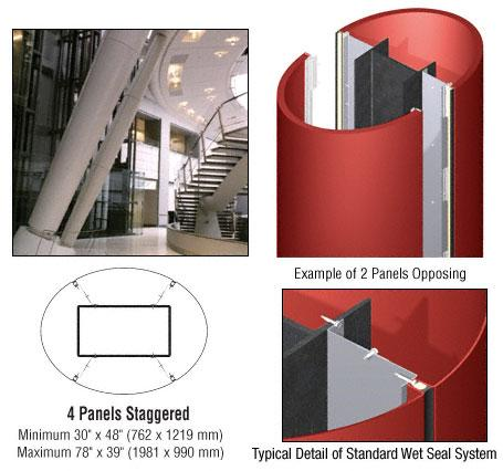CRL Custom Color Newlar Painted Standard Series Elliptical Column Covers Four Panels Staggered - ECE45CNL