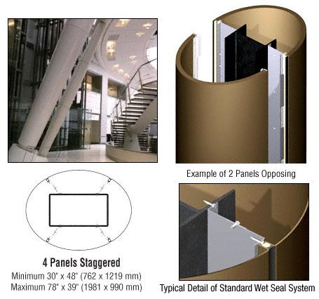 CRL Custom Polished Bronze Standard Series Elliptical Column Covers Four Panels Staggered - ECE45CPBRZ
