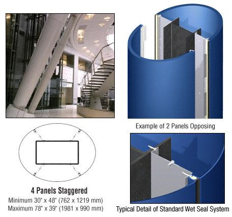 CRL Custom Color Powder Painted Standard Series Elliptical Column Covers Four Panels Staggered - ECE45CPT