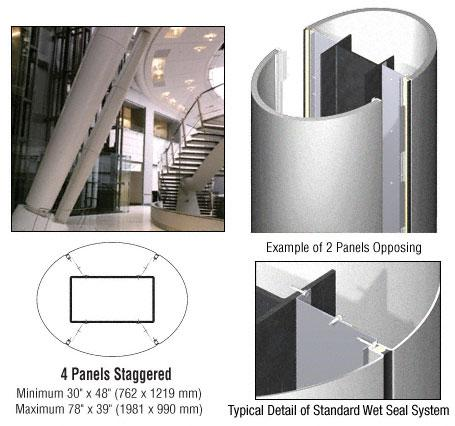 CRL Custom Silver Metallic Standard Series Elliptical Column Covers Four Panels Staggered - ECE45CSM