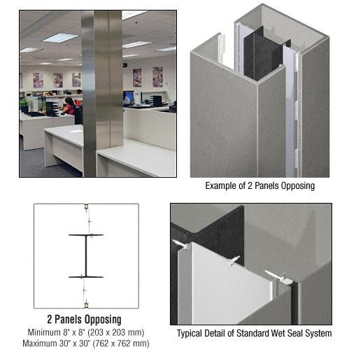 CRL Custom Brushed Stainless Standard Series Square Column Covers Two Panels Opposing - ECS20CBS