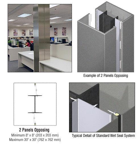 CRL Custom Mica Platinum Standard Series Square Column Covers Two Panels Opposing - ECS20CMP