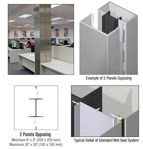 CRL Custom Non-Directional Stainless Standard Series Square Column Covers Two Panels Opposing - ECS20CNDS