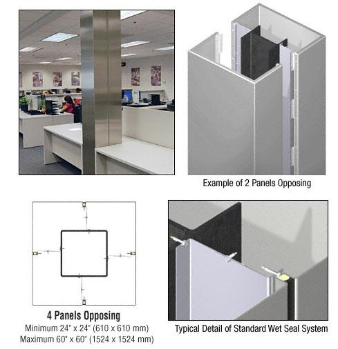 CRL Custom Non-Directional Stainless Standard Series Square Column Covers Four Panels Opposing - ECS40CNDS