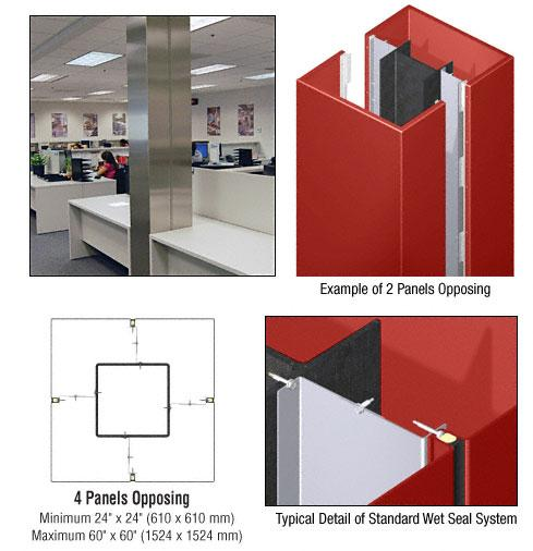 CRL Custom Color Newlar Painted Standard Series Square Column Covers Four Panels Opposing - ECS40CNL