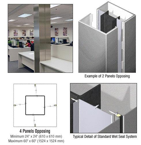 CRL Custom Silver Metallic Standard Series Square Column Covers Four Panels Opposing - ECS40CSM