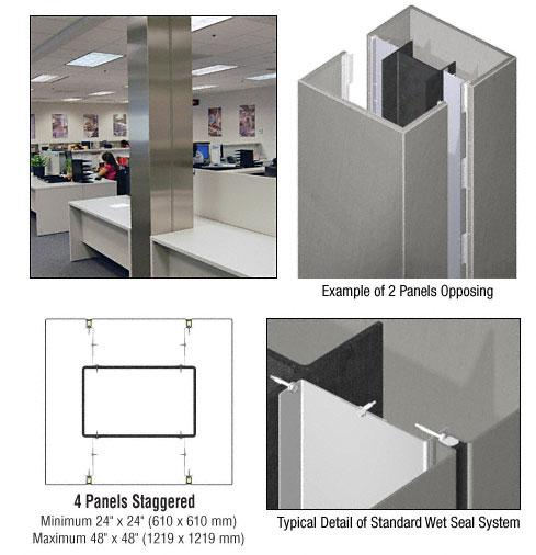 CRL Custom Brushed Stainless Standard Series Square Column Covers Four Panels Staggered - ECS45CBS