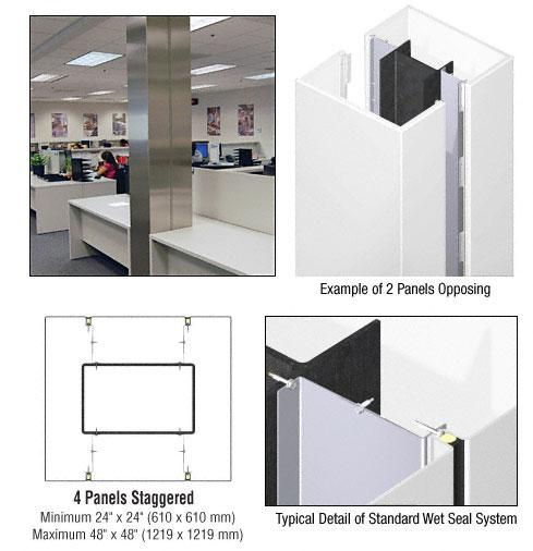 CRL Custom Bone White Standard Series Square Column Covers Four Panels Staggered - ECS45CBW