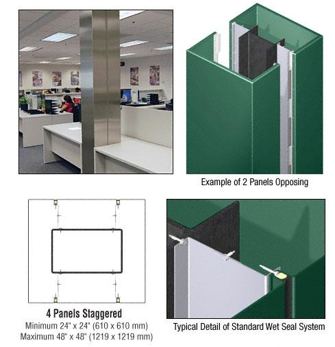 CRL Custom Color Kynar® Painted Standard Series Square Column Covers Four Panels Staggered - ECS45CKN