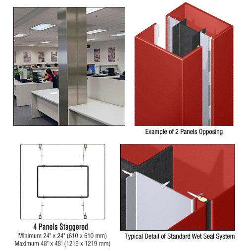 CRL Custom Color Newlar Painted Standard Series Square Column Covers Four Panels Staggered - ECS45CNL