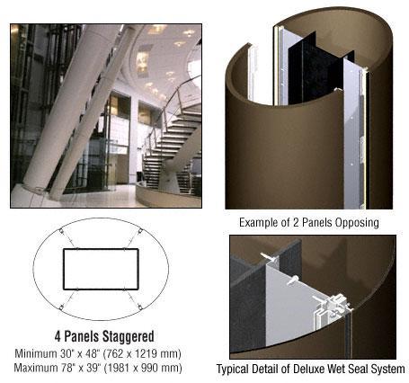 CRL Custom Brushed Bronze Premier Series Elliptical Column Covers Two Panels Opposing - PCE20CBBRZ
