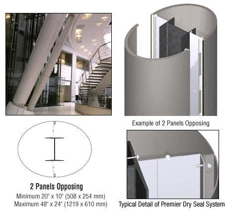 CRL Custom Brushed Stainless Premier Series Elliptical Column Covers Two Panels Opposing - PCE20CBS