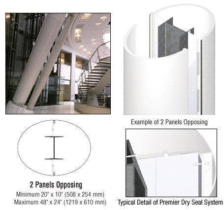 CRL Custom Bone White Premier Series Elliptical Column Covers Two Panels Opposing - PCE20CBW