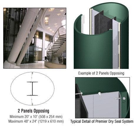 CRL Custom Color Kynar® Painted Premier Series Elliptical Column Covers Two Panels Opposing - PCE20CKN