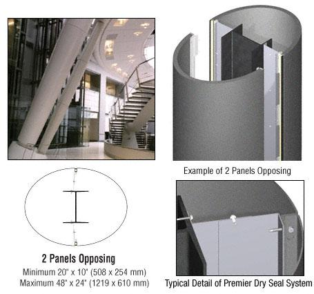 CRL Custom Mica Platinum Premier Series Elliptical Column Covers Two Panels Opposing - PCE20CMP