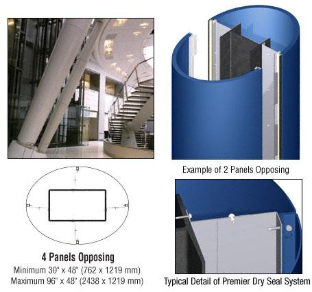 CRL Custom Color Powder Painted Premier Series Elliptical Column Covers Four Panels Opposing - PCE40CPT