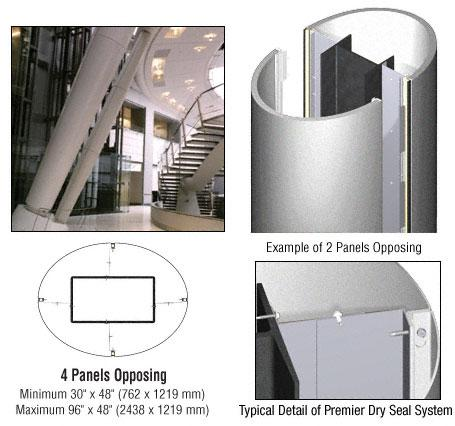 CRL Custom Silver Metallic Premier Series Elliptical Column Covers Four Panels Opposing - PCE40CSM