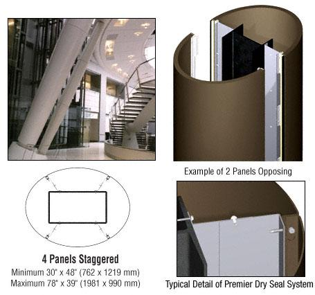 CRL Custom Brushed Bronze Premier Series Elliptical Column Covers Four Panels Staggered - PCE45CBBRZ