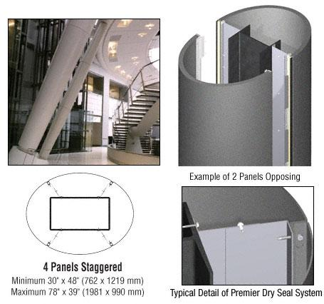 CRL Custom Mica Platinum Premier Series Elliptical Column Covers Four Panels Staggered - PCE45CMP