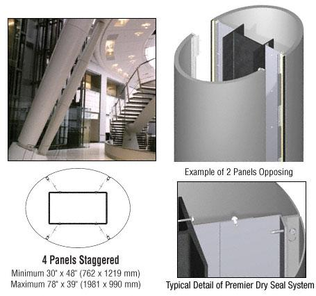 CRL Custom Non-Directional Stainless Premier Series Elliptical Column Covers Four Panels Staggered - PCE45CNDS
