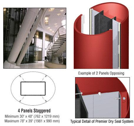 CRL Custom Color Newlar Painted Premier Series Elliptical Column Covers Four Panels Staggered - PCE45CNL