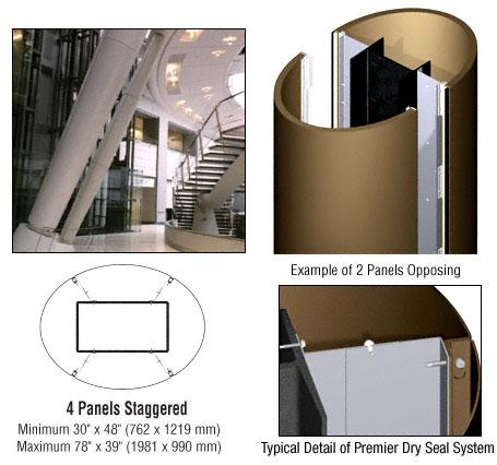 CRL Custom Polished Bronze Premier Series Elliptical Column Covers Four Panels Staggered - PCE45CPBRZ