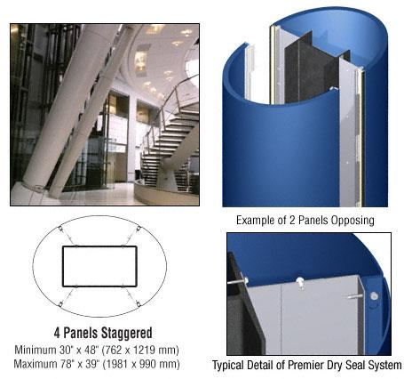 CRL Custom Color Powder Painted Premier Series Elliptical Column Covers Four Panels Staggered - PCE45CPT