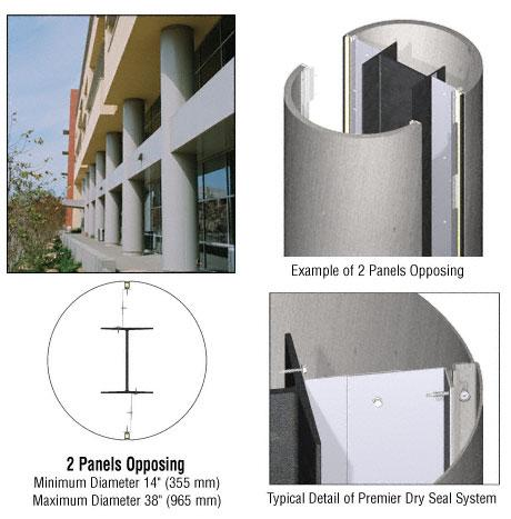 CRL Custom Brushed Stainless Premier Series Round Column Covers Two Panels Opposing - PCR20CBS