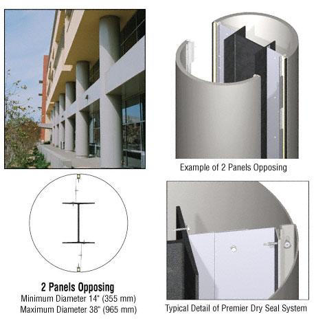 CRL Custom Non-Directional Stainless Premier Series Round Column Covers Two Panels Opposing - PCR20CNDS
