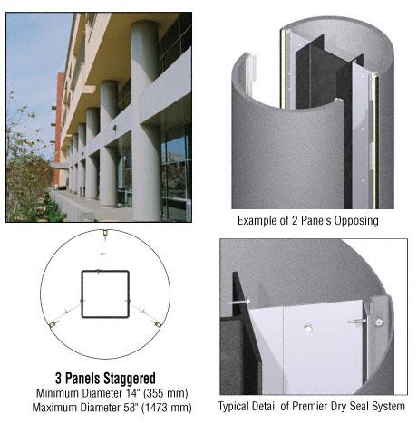 CRL Custom Mica Platinum Premier Series Round Column Covers Three Panels Staggered - PCR30CMP