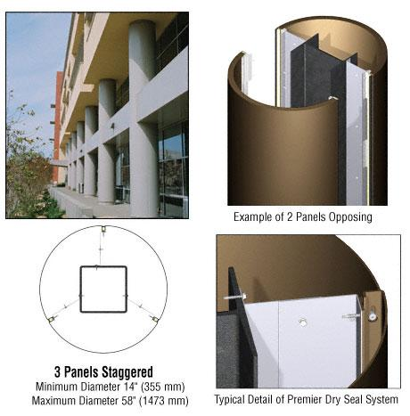 CRL Custom Polished Bronze Premier Series Round Column Covers Three Panels Staggered - PCR30CPBRZ