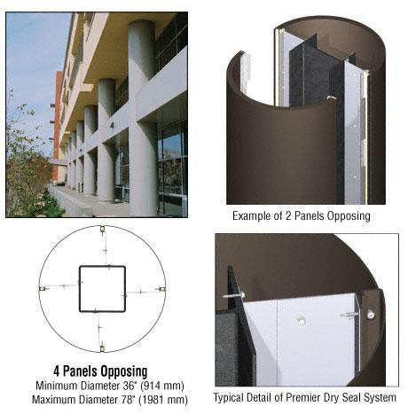 CRL Custom Oil Rubbed Bronze Premier Series Round Column Covers Four Panels Opposing - PCR40CORB