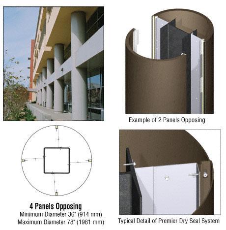 CRL Custom Brushed Bronze Premier Series Round Column Covers Four Panels Opposing - PCR40CBBRZ