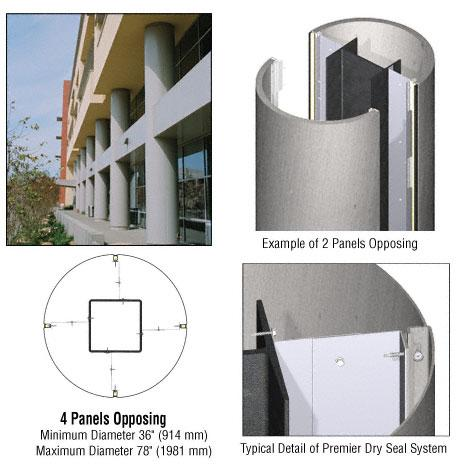 CRL Custom Brushed Stainless Premier Series Round Column Covers Four Panels Opposing - PCR40CBS