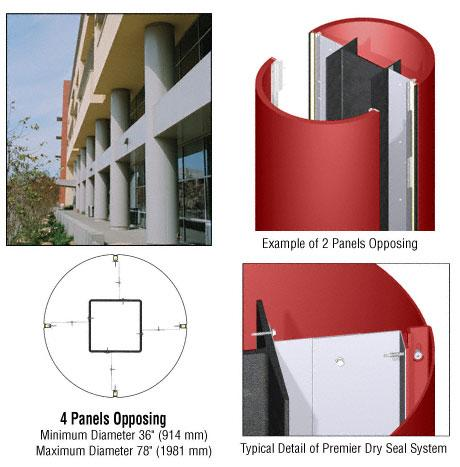CRL Custom Color Newlar Painted Premier Series Round Column Covers Four Panels Opposing - PCR40CNL