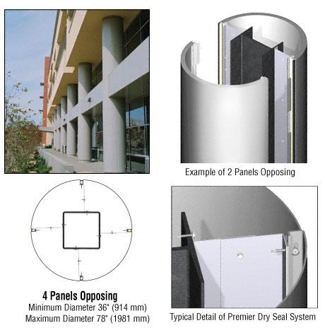 CRL Custom Polished Stainless Premier Series Round Column Covers Four Panels Opposing - PCR40CPS