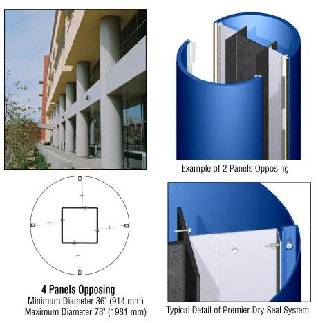 CRL Custom Color Powder Painted Premier Series Round Column Covers Four Panels Opposing - PCR40CPT