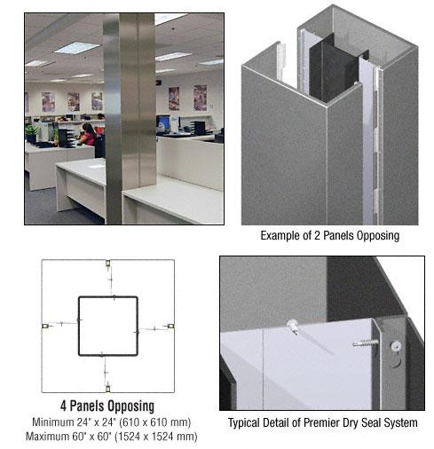 CRL Custom Mica Platinum Premier Series Square Column Covers Four Panels Opposing - PCS40CMP