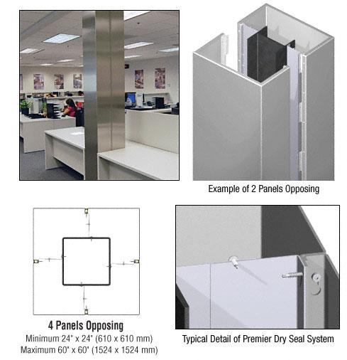 CRL Custom Non-Directional Stainless Premier Series Square Column Covers Four Panels Opposing - PCS40CNDS