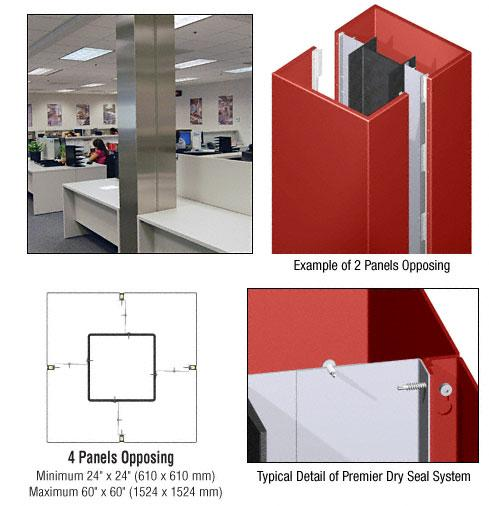 CRL Custom Color Newlar Painted Premier Series Square Column Covers Four Panels Opposing - PCS40CNL