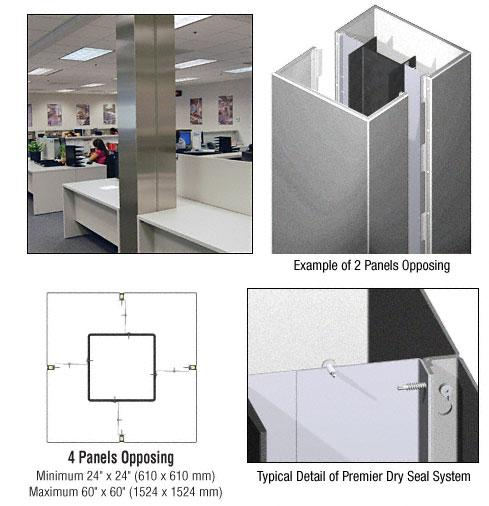 CRL Custom Silver Metallic Premier Series Square Column Covers Four Panels Opposing - PCS40CSM