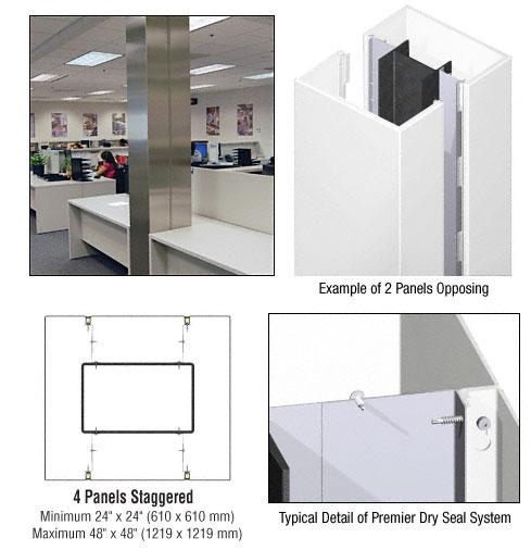 CRL Custom Bone White Premier Series Square Column Covers Four Panels Staggered - PCS45CBW