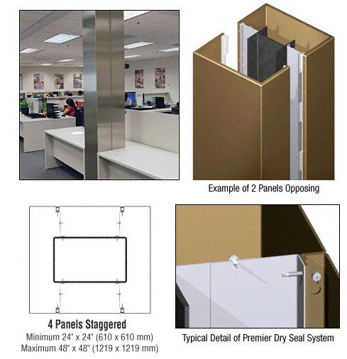 CRL Custom Polished Bronze Premier Series Square Column Covers Four Panels Staggered - PCS45CPBRZ