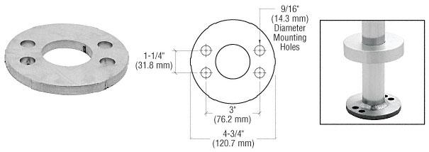 """CRL Mill Finish Stainless Steel Base Flange for 1-1/4"""" Schedule 40 Pipe Railings- Wood Mount - PR12FWS"""