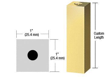 "CRL Satin Brass 1"" Square Standoff Base Custom Length - SQ1CSB"